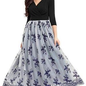 Women's V Neck Sequin Tulle Maxi Dress size Large